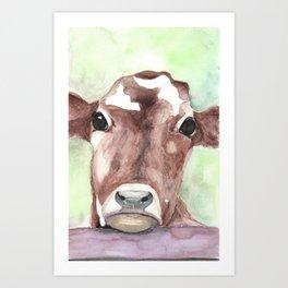 Cow portrait, farmhouse, country home, farm animal Art Print
