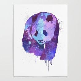 Watercolor Panda in Purple Poster