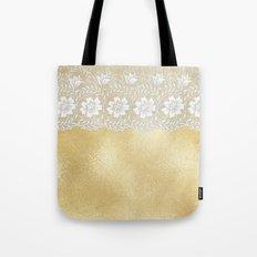 Bridal lace - White floral elegant lace on gold metal backround Tote Bag