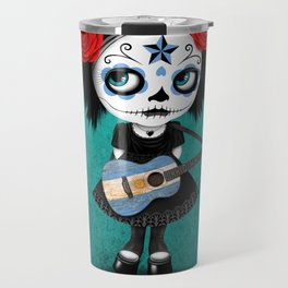Day of the Dead Girl Playing Argentine Flag Guitar Travel Mug