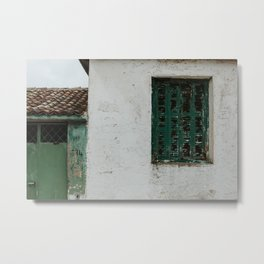 Abandoned street with green shutters in Maries | Colourful Travel Photography | Zakynthos, Greece (Zante) Metal Print