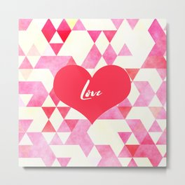 Valentine's Diamond Pattern with Love Heart Metal Print