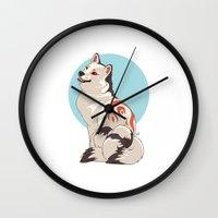 shiba Wall Clocks featuring Shiba Inu Kitsune by AlliePets