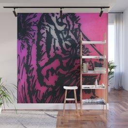 Tiger Style Pink, Purple, Orange, Yellow Wall Mural