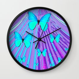 MIGRATING NEON BLUE BUTTERFLIES & PURPLE  ART Wall Clock
