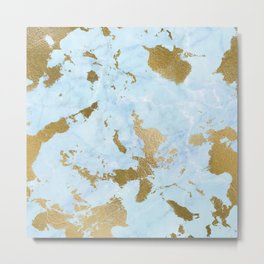 Pale Blue Gold Marble Metal Print