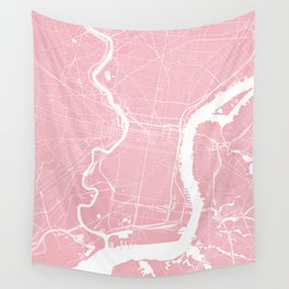 Philadelphia, PA, City Map - Pink Wall Tapestry