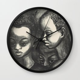 African American Children Vintage Lithograph Wall Clock