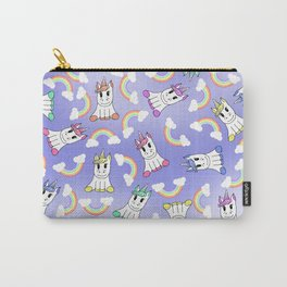 Cute Girly Unicorns and Colorful Rainbows Pattern Carry-All Pouch