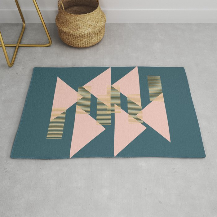 Modern Lines and Triangles Design in Blush, Teal, and Gold Rug