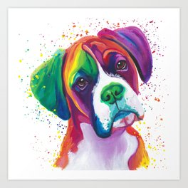 Rainbow Boxer Dog breeed Art Print