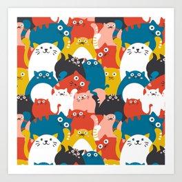 Cats Crowd Pattern Art Print