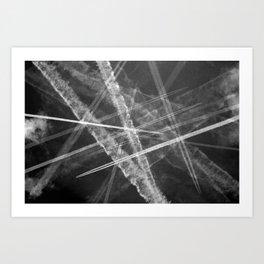 Jet vapour trails in a dark sky Art Print