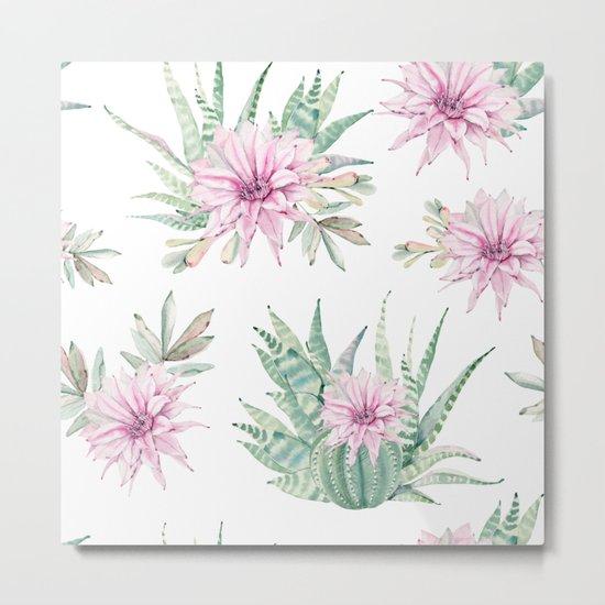 Simply Cactus Desert Rose Metal Print