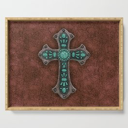Brown and Turquoise Rustic Cross Serving Tray