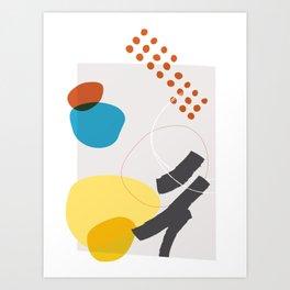 Shape & Hue Series No. 1 – Yellow, Orange & Blue Modern Abstract Art Print