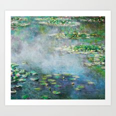 1906 Waterlilies oil on canvas. Claude Monet. Art Print