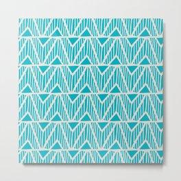 mala, african tribal pattern turquoise Metal Print