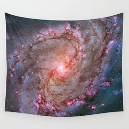 Spiral Galaxy, Space, Southern Pinwheel in Pink and Blue- A View of the Stars Wall Tapestry