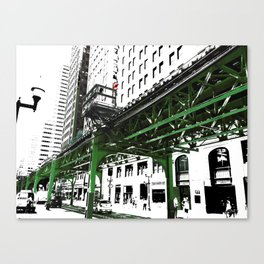 Chicago photography - Chicago EL art print in green black and white Canvas Print