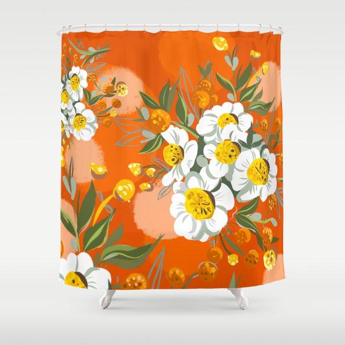 Orange Poppy Flowers Chinoiserie Shower Curtain