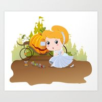 cinderella Art Prints featuring Cinderella by 7pk2 online