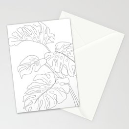 Line Art Monstera Leaves Stationery Cards