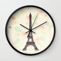 eiffel tower Wall Clocks featuring Eiffel Tower by Caroline Mint