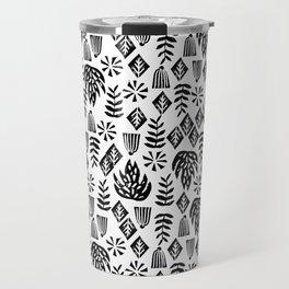 Tropical linocut tribal island pattern scandinavian art print black and white minimal Travel Mug