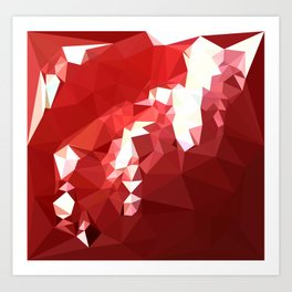 Coquelicot Red Abstract Low Polygon Background Art Print