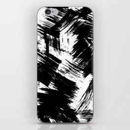 Modern black white watercolor brushstrokes pattern iPhone Skin