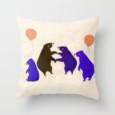 A sleepy bear party Throw Pillow
