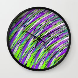 curly line pattern abstract background in purple and green Wall Clock