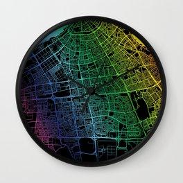Kuwait City, Kuwait, City, Map, Rainbow, Map, Art, Print Wall Clock