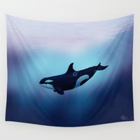 biology Wall Tapestries featuring Lost in Fantasy ~ Orca ~ Killer Whale by Amber Marine