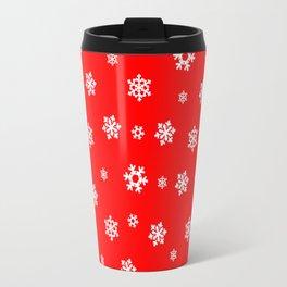 Snowflakes (White on Red) Travel Mug
