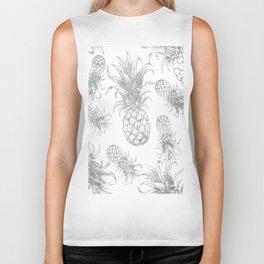 grayscale pineapple pattern, vintage tropical desing Biker Tank