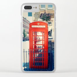 Red phone booth Clear iPhone Case