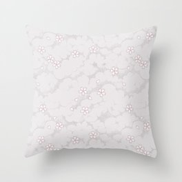 Kumori Nochi Sakura: Pink Throw Pillow