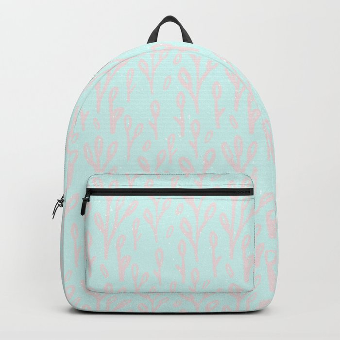 Merry christmas- abstract winter pattern with pink branch and snow Backpack