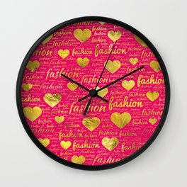 Fashion Word Art witth Gold hearts on Bright Pink, Wall Clock