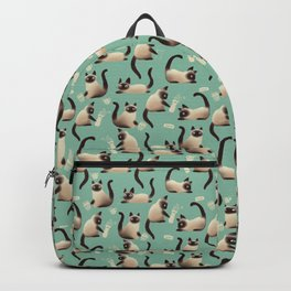 Bad Siamese Cats Knocking Stuff Over Backpack