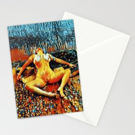 5198s-CH Abstract Nude Woman on Lake Superior Shore Rendered as Colorful Art by Chris Maher Stationery Cards