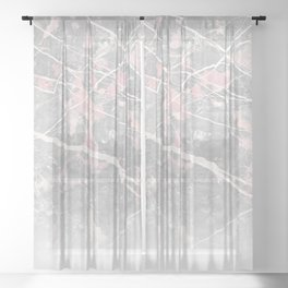 Pastel Pink & Grey Marble - Ombre Sheer Curtain