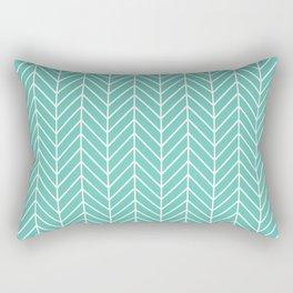 Turquoise Herringbone Pattern Rectangular Pillow