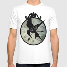 Tick Tock White SMALL Mens Fitted Tee