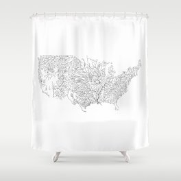 US River Map, River art, American River Map, Hydrological Map Shower Curtain