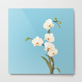 ORCHIDS ON BLUE Metal Print