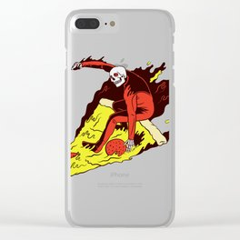 Surfer Pizza Skull Clear iPhone Case