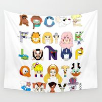 80s Wall Tapestries featuring Child of the 80s Alphabet by Mike Boon